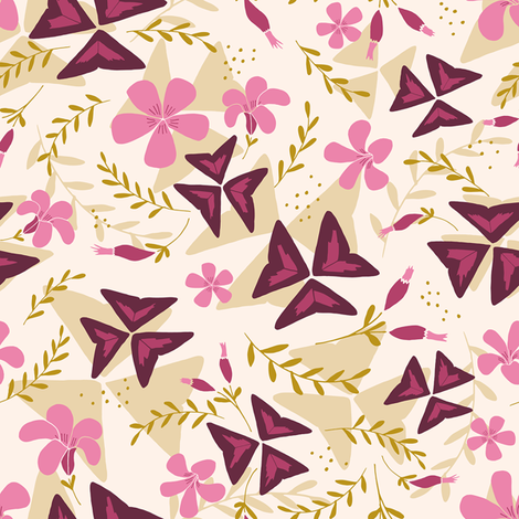 Purple Shamrock Floral Layered / Cream fabric by marketa_stengl on Spoonflower - custom fabric