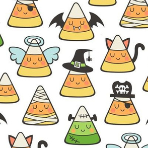 Candy Corn Halloween Fall Doodle on White