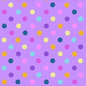 Multicolor polkadots over purple