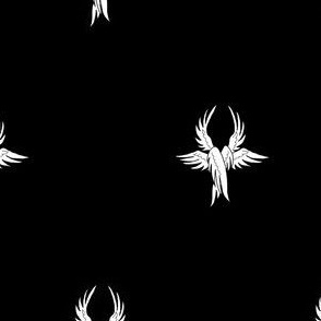 Sable, seraph's wings argent