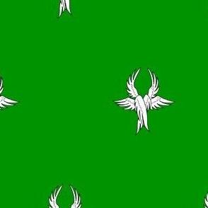 Vert, seraph's wings argent