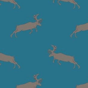 Gray Deer on Blue
