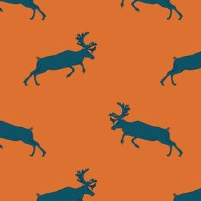 Blue deer on orange