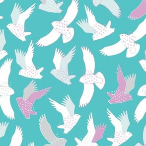 Snowy Owls In flight - white, pink and grey on bright aqua blue.