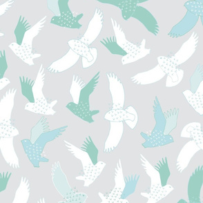 Snowy Owls In flight - white, mint and blue on grey