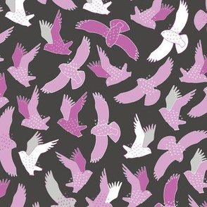 Snowy Owls In flight - pink on charcoal black
