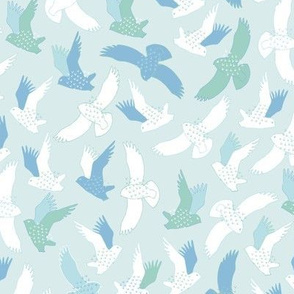 Snowy Owls In flight - mint and sky blue