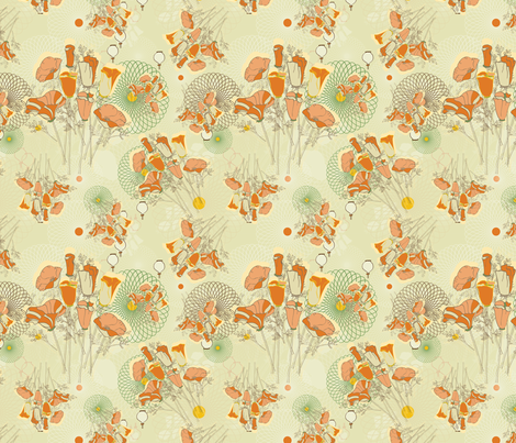 SpiroPoppy -Cream, Orange, Green fabric by curtis_mcgintus on Spoonflower - custom fabric