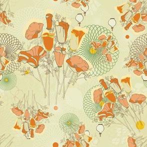 SpiroPoppy -Cream, Orange, Green