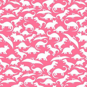 White Dinos on Hot Pink