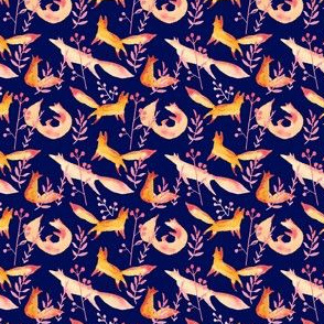 Little foxes in the blue forest