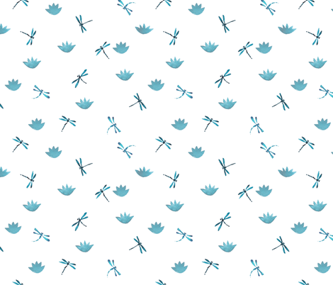 Blue dragonflies and lotuses fabric by ginger_lemon on Spoonflower - custom fabric