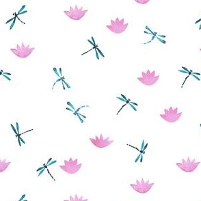 Dragonflies and lotuses pink pattern