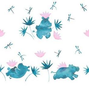 Hippopotami e fiori 2