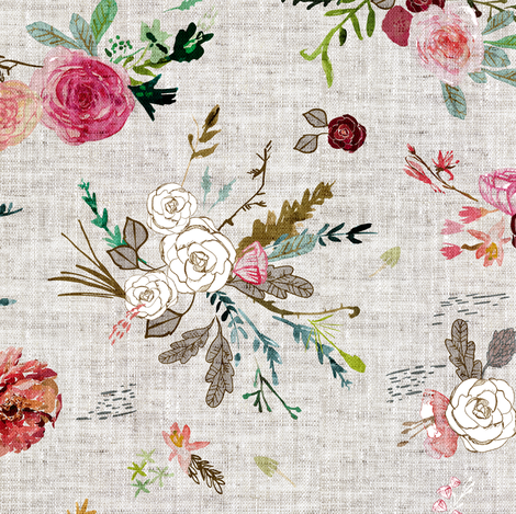 Fable Bouquet (linen) MED fabric by nouveau_bohemian on Spoonflower - custom fabric