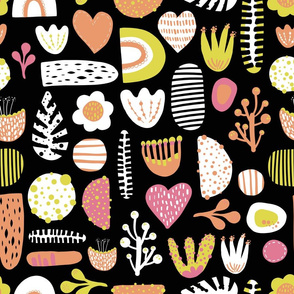Abstract Scandinavian shapes, flowers, hearts, leaves