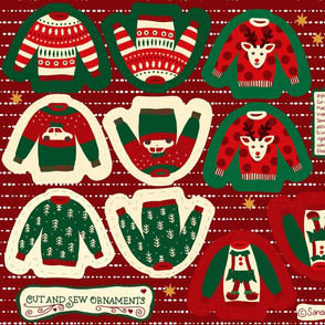 Cut and Sew Ugly Christmas Sweater Ornaments