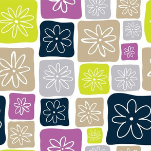 Doodle Squares with Flowers Purple, Lime green, Beige, Navy blue