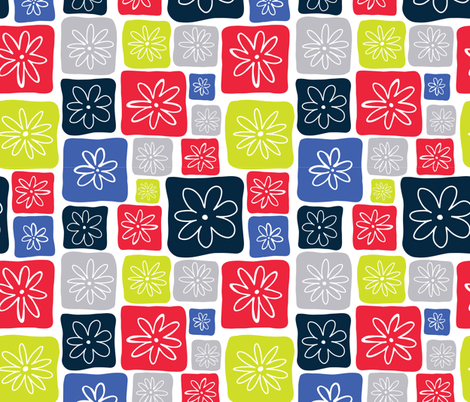Doodle Squares with Flowers Blue, Red, Gray, Lime green fabric by sandra_hutter_designs on Spoonflower - custom fabric