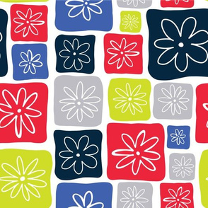 Doodle Squares with Flowers Blue, Red, Gray, Lime green