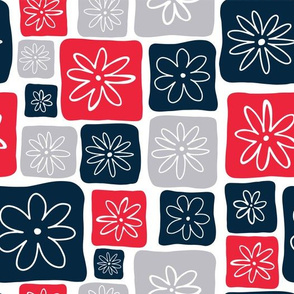 Doodle Squares with Flowers Red, Blue, Gray