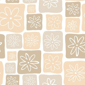 Doodle Squares with Flowers Beige