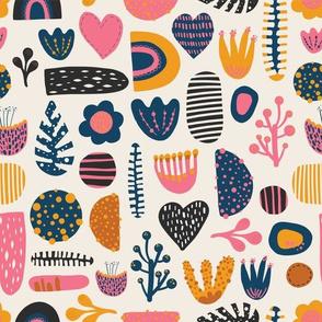 Scandinavian cute abstract shapes, flowers, hearts