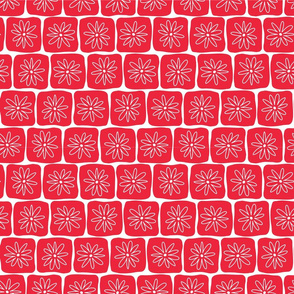 Doodle Squares with Flowers Red