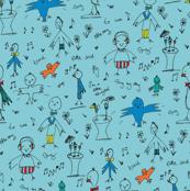 birds, party,  blue, orange, animals, baby boy, baby girl, baby, music, illustration, hand drawn,