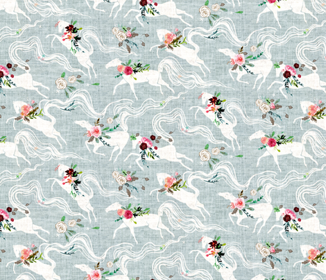 Pacing Steed (duck egg blue) MED fabric by nouveau_bohemian on Spoonflower - custom fabric
