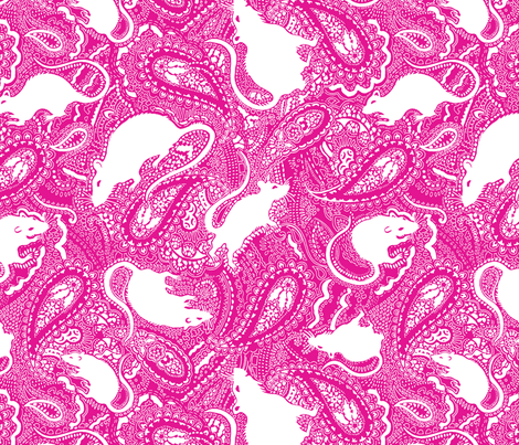 Paisley-Rats-MEDIUM-pink-and-white fabric by paisleypower on Spoonflower - custom fabric