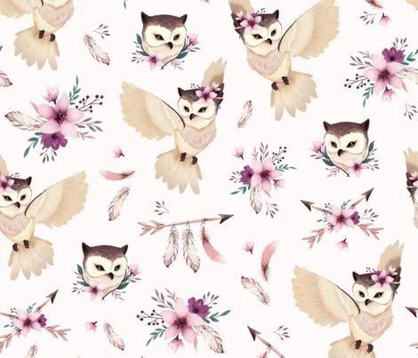 Bohoo - boho owl and floral - light pink fabric by ewa_brzozowska on Spoonflower - custom fabric