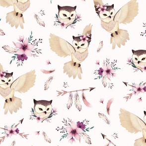 Bohoo - boho owl and floral - light pink