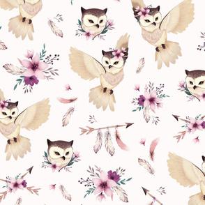 Bohoo - boho owl and floral - light pink