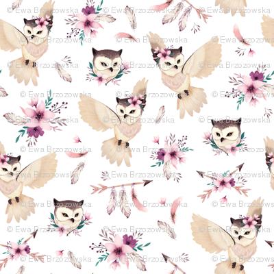 Bohoo Owl - boho owl and floral - white