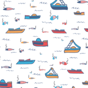 pedal boat white, red, blue, yellow, blub, fish, fishes, waves, summer, holiday, baby boy, baby girl