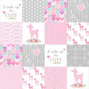 Pink Baby Girl Quilt – I Woke Up This Cute – Deer Patchwork Floral Wholecloth
