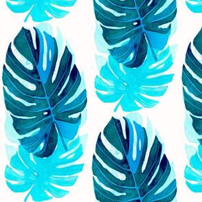 Watercolor monstera leaves 7 in blue