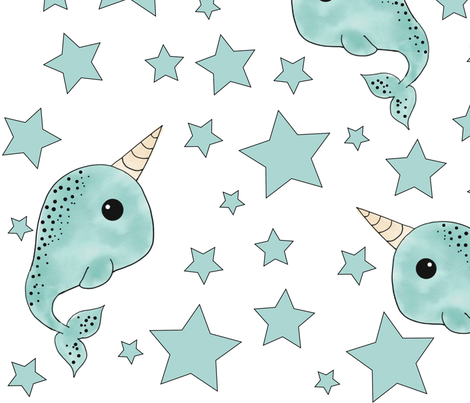 Narwhal and Stars fabric by acanderson811 on Spoonflower - custom fabric