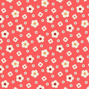 Retro Style Simple Off-White Flowers Tossed on Red Background