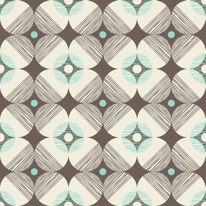 Retro Style Textured Off-White Circles on Brown Background with Sky Blue Accent Details
