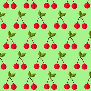 geometric cherries on green