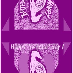 Happy birthday/Gotcha day doggy baby-double-sided bunting-medium-pink/magenta