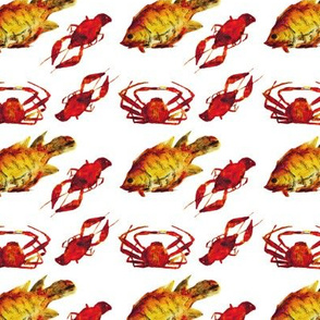Sea food pattern || watercolor design for kitchen