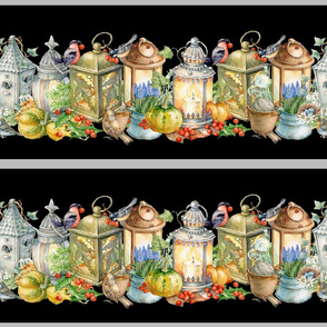 lantern  Birds Borders 4 seasons 9 inch