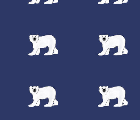 Polar Bears on Midnight Blue two fabric by kschowe on Spoonflower - custom fabric