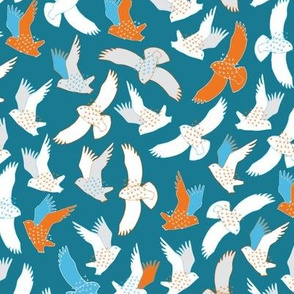 Snowy Owls in flight - orange and turquoise by Cecca