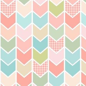 Peach Plaid Chevron Arrows - Coral, Blue, Blush Pattern
