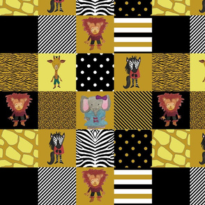 Jungle Friends Mustard and Black Cheater Quilt