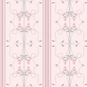 Wallflower Arabesque: Millennial Pink Floral Stripe